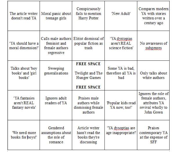 YA Article Bingo