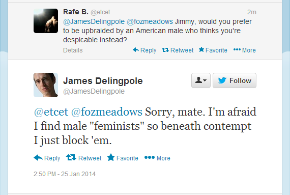 James Delingpole anti male feminists on Twitter, 25.01.14