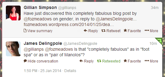 James Delingpole being a sexist ass on Twitter, 25.01.14