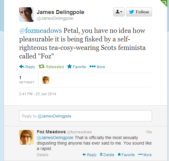James Delingpole being a sexually harassing ass on Twitter, 25.01.14