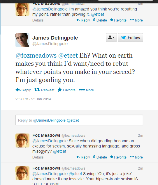 James Delingpole goading on Twitter, 25.1.14