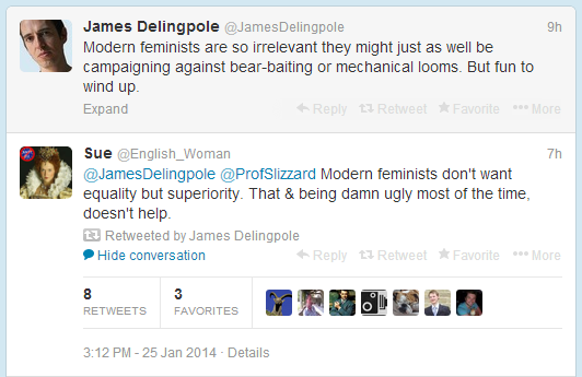 James Delingpole on feminists on Twitter, 25.1.14
